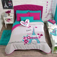 New Girls Teens Gray Aqua Pink Eiffel Tower Paris Comforter Bedding Set in Home & Garden, Bedding, Comforters & Sets | eBay