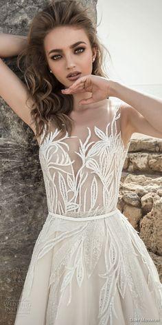 danny mizrachi 2018 bridal embroidered strap sleeveless deep plunging sweetheart neckline heavily embellished bodice romantic a line wedding dress open scoop back (10) zv -- Dany Mizrachi 2018 Wedding Dresses