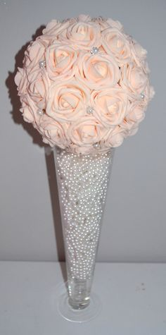 Pink Blush Bling Pearl Brooch Elegant Wedding foam flower ball, WEDDING CENTERPIECE, wedding pomander, kissing ball, flower girl