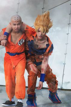Awesome Krillin and SS Goku Cosplay  http://dat-baka.deviantart.com/art/krillin-goku-cosplay-dragon-ball-z-battle-damage-485476279