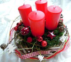 Adventskranz rot  Tischdeko Weihnachten Advent