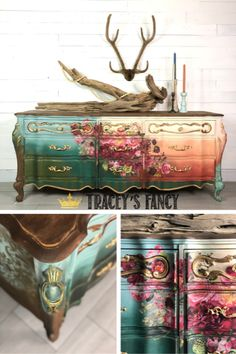 and Roses : Floral Furniture Transfer Dresser - Tracey's Fancy Painted Furniture Piece. Rust and Roses : Floral Furniture Transfer Dresser - Tracey's Fancy Painted Furniture Pieces Rust and Roses : Floral Furniture Transfer Dresser - Tracey's Fancy Floral Furniture, Dresser Furniture, Chalk Paint Furniture, Hand Painted Furniture, Funky Furniture, Refurbished Furniture, Furniture Stencil, Painted Dressers, Furniture Ideas