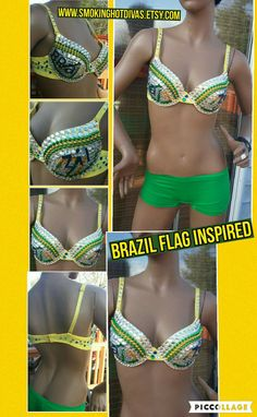 Brazil flag inspired Rhinestone bra custom made by Smokinghotdivas