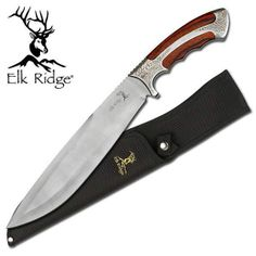 "Elk Ridge Elegant Fixed Blade Bowie 15 1/2"" Knife Scroll Design Etching 270"