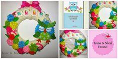 Felt Wreath, Crochet Necklace, Wreaths, Christmas Ornaments, Holiday Decor, Crafts, Design, Manualidades, Door Wreaths