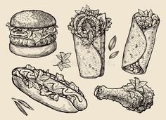Illustration about Collection of hand drawn food. Illustration of diet, gyros, beef - 69823029 Shawarma, Chicken Drawing, Food Drawing, Fast Casual Restaurant, Food Sketch, Chicken Legs, Logo Restaurant, Line Illustration, Cute Doodles