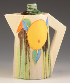 Clarice Cliff DELECIA CITRUS CONICAL COFFEE POT C.1934