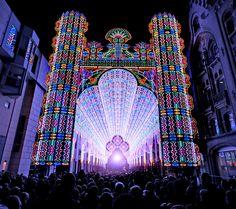 La Capital de Gante, Bélgica iluminada durante el Festival de la Luz 2012.