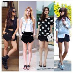 Four ways to wear a black skort #Fashion #Trends #Style