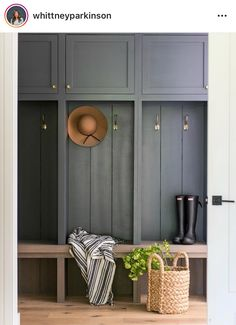 This warm wood and deep grey colored mudroom designed by couldn't be more inviting. This warm wood and deep grey colored mudroom designed by couldn't be more inviting. Mudroom Cabinets, Mudroom Laundry Room, Mud Room Lockers, Mudroom Cubbies, Hallway Storage, Garage Storage, Built In Lockers, Kitchen Cupboards, Storage Cabinets