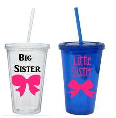 Big Sister Little Sister Tumblers Set, Big And Little Tumblers, Sorority Sister Tumblers by SiplySophisticated on Etsy