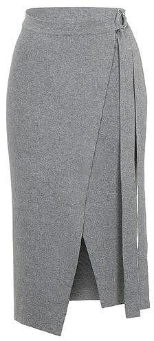 Womens grey d-ring wrap skirt marl marl from Topshop - £39 at ClothingByColour.com