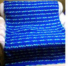 "Big #Crochet #Blue #Afghan 48"" x 70"" | @TheCrochetCubby/Angela Wojcik - Crochet on ArtFire"