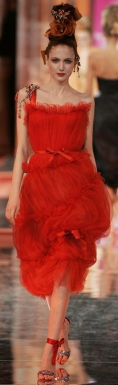Christian Lacroix - red organza ruched dress love the movement in the skirt