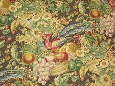PHEASANT with FRUIT FLORAL Vintage Fabric 2 Yards Home Decor