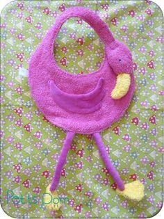 """Flamingo Burp Cloth  (pattern from the book """"Couture pour bébé et sa maman"""")"""