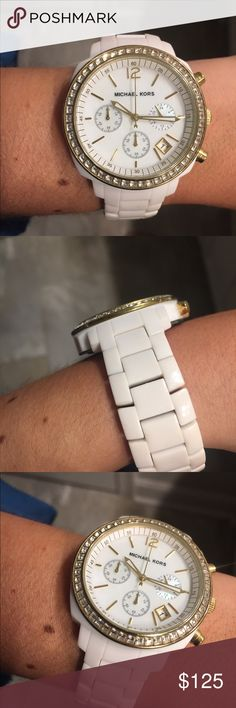 Michael Kors White Watch While Michael Kors Watch with rhinestones and gold features Michael Kors Jewelry
