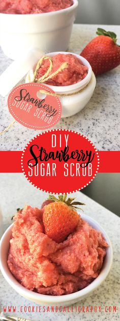 DIY STRAWBERRY SUGAR SCRUB | Do you know how easy it is to make your own sugar scrub? All you need are 4 ingredients and about 5 minutes from start to finish. That's it! We are sharing our very own DIY Strawberry Sugar Scrub tutorial just in time for all of us to prep our skin for the hot, summer days that are fast approaching! Plus, homemade sugar scrub is incredibly cheap compared to store bought versions. So, you won't break the bank trying to achieve perfectly pampered skin.