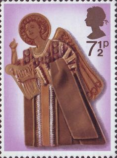 Christmas 7.5p Stamp (1972) Angel playing Harp