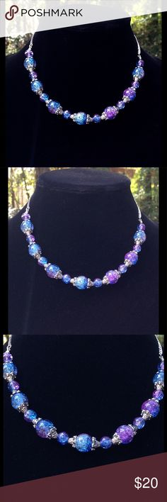 """Blue and Purple Sparkly Sterling Silver Choker Made with sparkling duotone blue and purple glass beads and sterling silver chain, this beautiful piece is truly eye catching! This necklace attaches with a lobster clasp. The clasp and chain are sterling silver. This piece measures about 16"""" long.   All PeaceFrog jewelry items are handmade by me! Let me know if you need a different size. Take a look through my boutique for coordinating jewelry and more unique creations. PeaceFrog Jewelry…"""