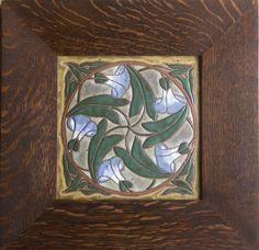 "Common Ground Pottery | 8"" Tile | Morning Glories | Tiger Oak Frame | Eric Olson"