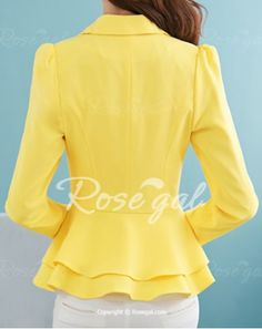 Stylish Lapel Long Sleeve Solid Color One-Button Women's Blazer Coats | RoseGal.com Mobile