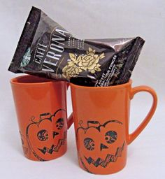 Halloween Scary Pumpkin Coffee Mugs with Starbucks Caffe Verona Coffee Set of 2