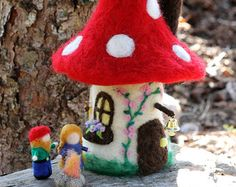 Felt gnome home, fairy house, toadstool/mushroom house