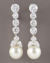 Champagne Pearl & Diamond Drop Earrings - Neiman Marcus