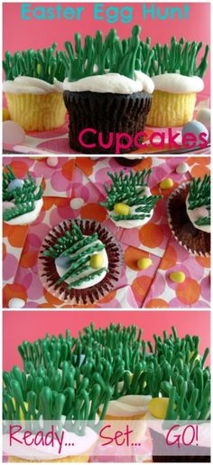 Easter Egg Hunt Cupcakes- easy for kids to decorate and fun to eat. SO easy!!