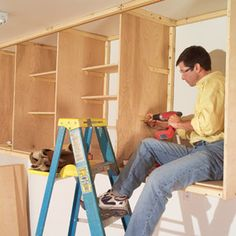 16 Easy Garage Space-Saving Ideas You don't have to be a cabinetmaker to build big, sturdy cabinets— especially if you build them Diy Garage Storage, Garage Organization, Workshop Organization, Garage Shelving, Organized Garage, Shelving Units, Shop Storage, Shelves, Utility Cabinets