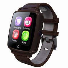 U11C Smart Watch Phone 1.54inch 240*240px LCD Screen Display MTK2502C 2G GSM 64MB+128MB 0.3MP Camera Leather Strap Bluetooth Smartwatch Pedometer Media Player Sleep Monitor Remote Capture Find Phone for iPhone Samsung Xiaomi iOS Android Smartphones