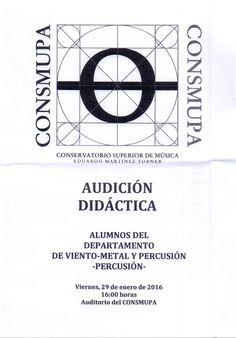 """Audición didáctica de percusión. Conservatorio Superior de Música """"Eduardo Martínez Torner"""". 29 de enero de 2016."""