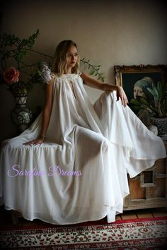 This gown made in soft silky nylon or satin is what I love. Wrap my body in yards and yards of soft silky nylon :) Cotton Lingerie, Cotton Sleepwear, Lingerie Dress, Pretty Lingerie, Bridal Lingerie, Sleepwear Women, Lingerie Sleepwear, Jane Austen, White Nightgown