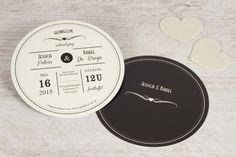 Originele ronde trouwekaart | tadaaz.be #uitnodiging #trouwen #huwelijk #zwart #wit #cirkel #origineel