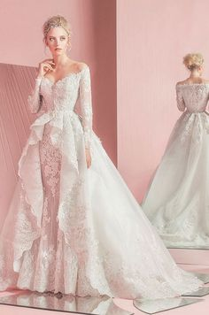 This off the shoulder wedding dress featuring long sleeves and overskirt ball gown train patsy. Zuhair Murad, Spring 2016
