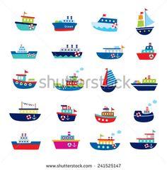 cute boat ship vector illustration