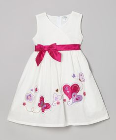 Another great find on #zulily! White & Raspberry Hearts A-Line Dress - Toddler & Girls by Littoe Potatoes #zulilyfinds