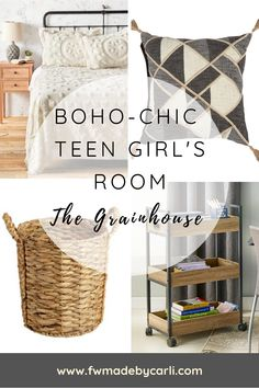 A boho-chic teen girl's room with The Grainhouse from ChristmasTree Shops #Christmastreeshops #ad