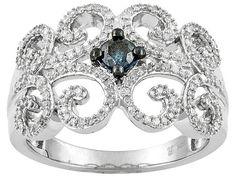 .50ctw Round Blue Velvet Diamond(Tm) And White Diamond Rhodium Over Sterling Silver Filigree Ring