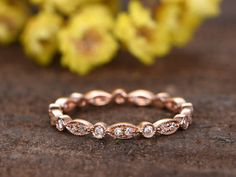 14k rose gold Marquise diamond wedding band,Milgrain bridal promise ring,full eternity band,0.27ct SI-H diamond ring,Deco,handmade Solid 14k white/ rose/yellow gold Band Width approx 2.2mm 0.27ctw Round Cut SI-H Natural Conflict Free Diamonds, Prong,Bezel Set,Milgrain,Art Deco Return and refund: We provide 30days return and exchange service. (Custom order is made by Unique demand, will be non-returnable and non-refundable). As every item in my shop is handmade to order, if you unsat...