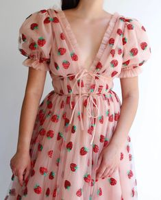 Strawberry dress--not my style but there is something magical about this dress. Pretty Dresses, Sexy Dresses, Beautiful Dresses, Short Sleeve Dresses, Dresses With Sleeves, Short Sleeves, Aesthetic Fashion, Aesthetic Clothes, Strawberry Dress