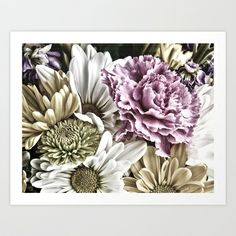Vintage Flora Art Print by Kathy Dewar - $16.00