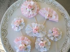 Pretty Pink Cupcake Toppers set of 7 for Easter or by JeanKnee, $14.00  Seem east to make on your own.