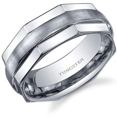 Hexagonal Edge Combination Finish 8mm Comfort Fit Mens Tungsten Carbide Wedding Band Ring Size 12.5