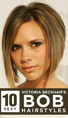 Platinum blonde, asymmetrical to round and choppy bob; Here& a list of top ten Victoria Beckham bob hairstyles – a style that is swiftly building momentum this year as well. 2015 Hairstyles, Funky Hairstyles, Celebrity Hairstyles, Best Bob Haircuts, Short Haircuts, Haircuts For Thin Fine Hair, Hair Photo, Hair Pictures, Short Hair Styles