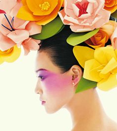 Chris Craymer for Vogue China Beauty, February 2013. Paper flowers headpiece in tropical colors.