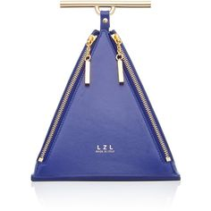 LZL Pyramid Bag (€415) ❤ liked on Polyvore featuring bags, handbags, blue handbags, top handle bags, top handle purse, blue bag and blue purse