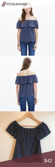 Madewell Silk Balcony Off the Shoulder Stripe Top Worn once, in excellent condition. Fits TTS. Navy and white. Trades PayPal   A seriously pretty top with an easy elasticized neckline (bare a single shoulder or both, your choice). Made of pinstriped silk, this shirt looks great with all our favorite denim.    True to size. Silk. Madewell Tops