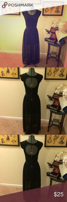 Black chiffon maxi dress Sassy black maxi dress with soft cotton jersey top and sexy chiffon skirt with two slits in front and partial lining of skirt. Beautiful open back. Fun, flowy, and sophisticated. Only worn once or twice for a few hours. Size small. Dresses Maxi